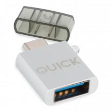 Quick Media QMACUSB USB-C USB-A Blanco adaptador de cable
