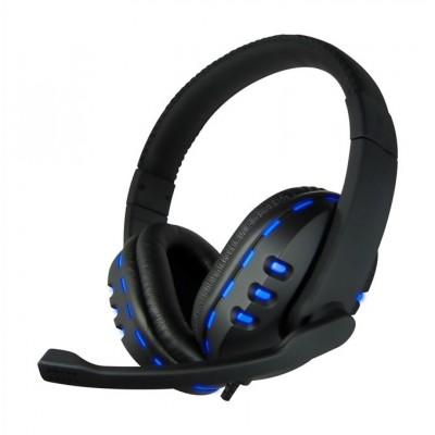 CoolBox Bluelight G2 Binaural Diadema Negro, Azul auricular con micrófono