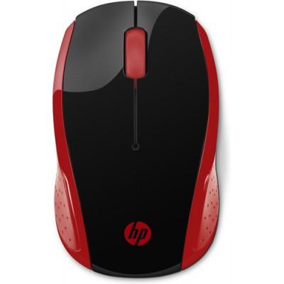 HP 200 ratón RF inalámbrico Óptico 1000 DPI Ambidextro Negro, Rojo