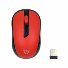 Ewent EW3226 ratón RF inalámbrico Óptico 1000 DPI Ambidextro Negro, Rojo