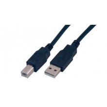 Cable USB USB A USB B Negro MCL 2m USB2.0 A/B