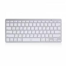 Ewent EW3161 teclado Bluetooth QWERTY Español Plata, Blanco