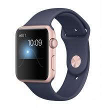 Apple Watch Series 1 caja de 42 mm de aluminio en oro rosa y correa deportiva azul noche