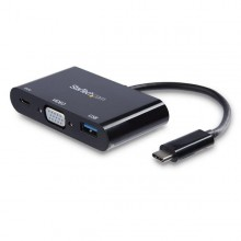 Adaptador Multifunción USB-C a VGA con Entrega de Potencia (Power Delivery) y Puerto USB-A