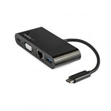 Docking Station USB-C para Portátiles - Mini Replicador de Puertos para Monitor VGA 1080p - Entrega de Alimentación de 60W