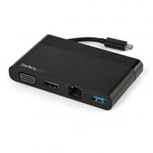 Adaptador Multipuertos USB-C 4K con HDMI y VGA - Mac Win Chrome - 1x USB-A - GbE - Portátil - Docking Station USB Tipo C